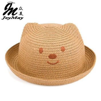 CREYONJ 2016 Fashion Straw Hats Summer Baby Ear Decoration Lovely Child Character Girls And Boys Sun Hat Solid Children Floppy C017