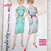 Vintage Pattern Simplicity 4428 dress sewing Fitted Bodice Wiggle 1960s Rockabilly Bust 35 Shirtwaist Deep V neck