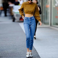 2017 New Spring Autunm High Waist Jeans Femme Ankle Length Mom Fit Woman Fashion Washed Denim Jean Zipper Pockets Pants C3538