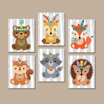 TRIBAL Animals Wall Art, Tribal Animals Nursery Decor, CANVAS or Print, WOODLAND Animal Decor, Wood Forest Animals, Gender Neutral Set of 6