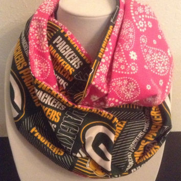Green Bay Packers Infinity Scarf - Pretty Pink Cotton Cowl - NFL - Football