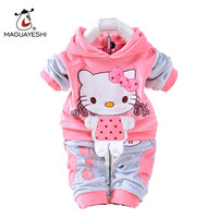 Baby Girls Clothing Set Autumn Fleece Sports 2Pcs Set Hello Kitty