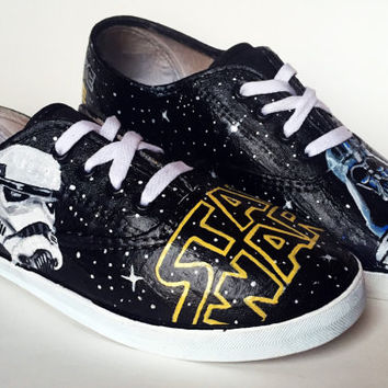 Hand Painted Canvas Shoes - Star Wars Space Theme