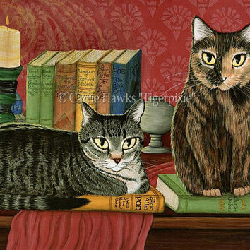 Library Cats Art Tabby Cat Painting Tortoiseshell Cat Poe, Dickens, Stoker Classic Literary Cats Art Print 8x10 Cat Lovers Art