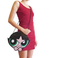 Powerpuff Girl Buttercup Shaped Vinyl Print Cross Body Bag | DOTOLY