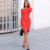 Fashion Off Shoulder Irregular Long Sleeve Dress