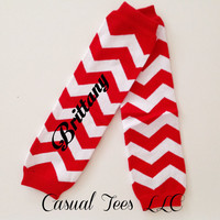 Red Chevron Baby Leg Warmers Personalized