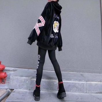 DCCK6HW Gucci' Women Fashion Velvet Letter Tiger Head Pattern Hooded Long Sleeve Sweater Leggings Set Two-Piece Sportswear