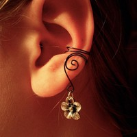 Pair Of Hematite Ear Cuffs With Whimsical Five Petal Flower Charms | Luulla