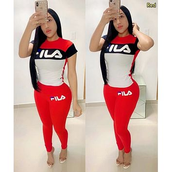 FILA Fashion Women Casual Shorts Sleeve Top Pants Two-Piece Set Sportswear Red