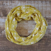 Ready to Ship Yellow and White Fabric Spring Infinity Scarf