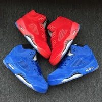 Best Deal Online Nike Air Jordan Retro 5 Flight Suit Chicago Red Suede Blue Suede Child Sneakers Kid Sports Shoes
