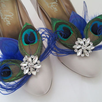 PEACOCK Wedding Shoe Clips, Royal Blue Peacock Feather Shoe Clips, Bride Shoe Accessories, Royal Blue Wedding Shoes, Royal Blue Weddings