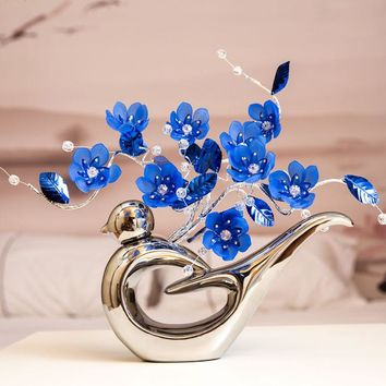 Fashion modern Crystal flower ceramic silver vase decoration Crafts ornament high grade crystal Wedding home decoration Gifts