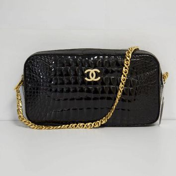 LMF3DS Chanel Black Crocodile Bag