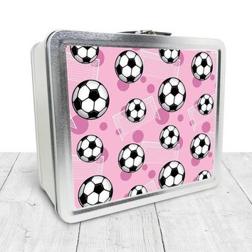 Pink Soccer Lunch Box - Sports Soccer Ball Pattern on Pink, Tin School Lunch Art Craft Supplies Box, Chalkboard inside - Made to Order
