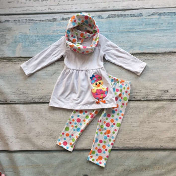 baby girls 3 pieces with scarf sets girls chick easter clothing children white top with colorful polka dot pant clothing