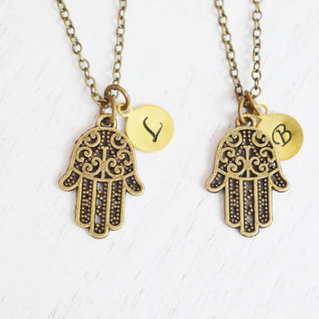 best friend necklace,personalized mother daughter jewelry,hamsa hand jewelry,religion,peace,friendship,bff,bridesmaid,dainty tiny,hamsa hand