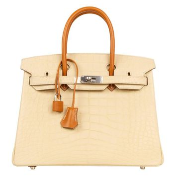 Hermes Birkin 30 Bag Touch Matte Vanille Butler Leather Palladium Hardware