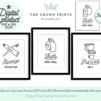Funny bathroom art set of 3 PRINTABLE bathroom wall decor printable decor bathroom printables bathroom art printable women gift men gift