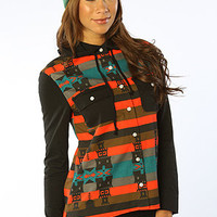 The Mayan Hooded Flannel Shirt in Black Multi