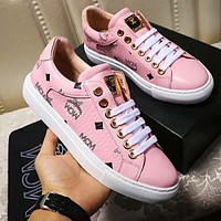 MCM Sneakers PU Print Contrast Shoes Four-color optional Pink