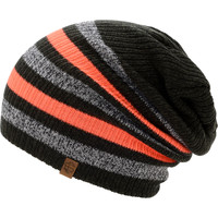 Empyre Girls Zodiac Black, Neon Coral, & Charcoal Stripe Beanie at Zumiez : PDP