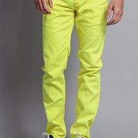 Men's Skinny Fit Colored Jeans DL937 (Neon Yellow)