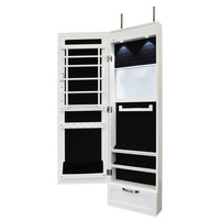 New View Over-the-Door Mirrored Jewelry Cabinet in White
