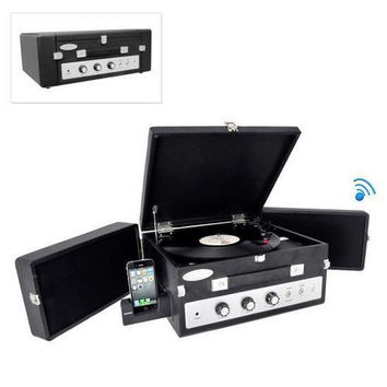 Retro Vintage Classic Style Bluetooth Turntable Record Player with Vinyl-to-MP3 Recording (Black)