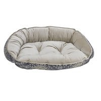 Crescent Bolstered Dog Bed — Sussex Jacquard / Almond Jacquard