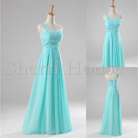 Beads One-shoulder Flower Strapless A-Line long Bridesmaid Celebrity dress ,Floor length Chiffon Evening Party Prom Dress Homecoming Dress