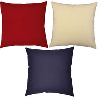 Trio of Red, Natural and Blue Throw Pillows - Set of Three Solid Color Pillow Covers with or without Cushion Inserts - Summer Decor, America