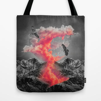 Burn Bright In the Darkness (Volcanic Clouds II) Tote Bag by Soaring Anchor Designs