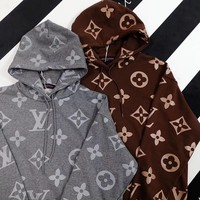 """""""Louis Vuitton"""" Casual Fashion Letter Pattern Classic Long Sleeve Hooded Sweater Women Hoodie Tops"""
