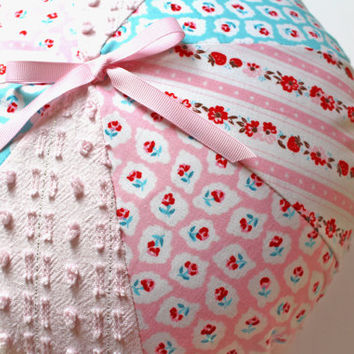 Pink Pillow - Pinwheel Pillow - Pink Round Pillow - Shabby Chic - Chenille - Milk Sugar Flower Elea Lutz Fabric- Penny Rose Fabrics