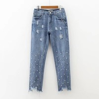 New spring storage color nail bead burr hole fashion jeans trousers denim jeans 0521