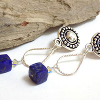 Clip on Earrings for Women, Dangle Earrings, Blue Lapis Lazuli, Handcrafted Jewelry, Silver Teardrop Earrings, One of a Kind Jewelry
