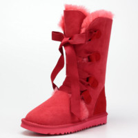 """""""UGG"""" Women Trending Casual Wool Snow Boots Calfskin Shoes Wine red G"""