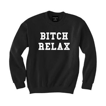 DCCKR2 Black men and women plus cashmere sweater coat new letters printed T-shirt bitchrelax