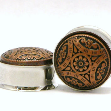 Bronz Flower Tribal Style Plugs 1/2 9/16 3/4 7/8 Inch  12mm 14mm 19mm 22mm