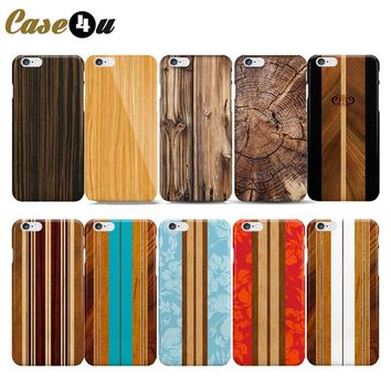 Various Bamboo pattern Flower Skin Hard Case For coque iPhone SE 5s 5 6s iphone 6 wooden Cover Plastic Shell Capinhas 10 Desiges