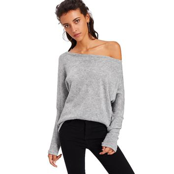Women's Fashionable Tops Long Sleeve Off Shoulder Blouse Knitted Loose Pullover Sweatshirt