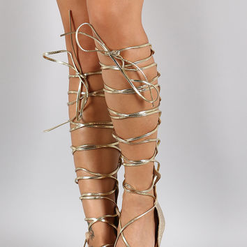 Cracked Metallic Gladiator Knee High Flat Sandal