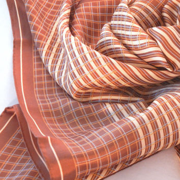 Echo Silk Scarf, Brown Tones, Plaid Chocolate Tan Blue Stripes, Large Square Shape, Vintage 80s