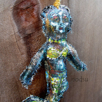 weird creepy mermaid hanging ornament painted linen