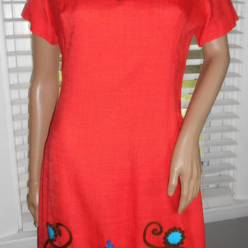 60s Classic Edith Flagg Designs / Vintage Orange Dress / Retro Linen Dress / Jackie Kennedy Style Dress / Leaves Pattern Sheath Dress