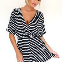 Stripe Crossover Playsuit | SABO SKIRT