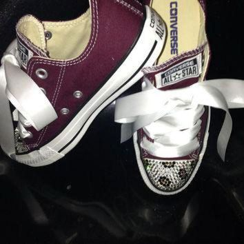 Custom Women Converse Crystallized Leopard Style - Beauty Ticks