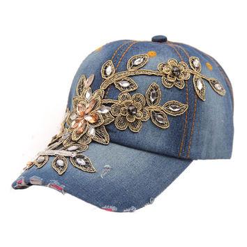 Delicate 2015 New Women Diamond Flower Baseball Cap Summer Style Lady Jeans Hats May22 Hot Selling